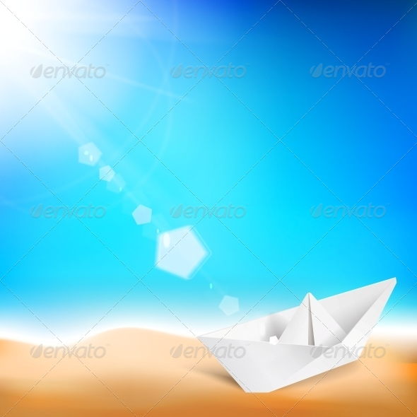 GraphicRiver Beautiful Background with a Summer Sea and Ship 5424312