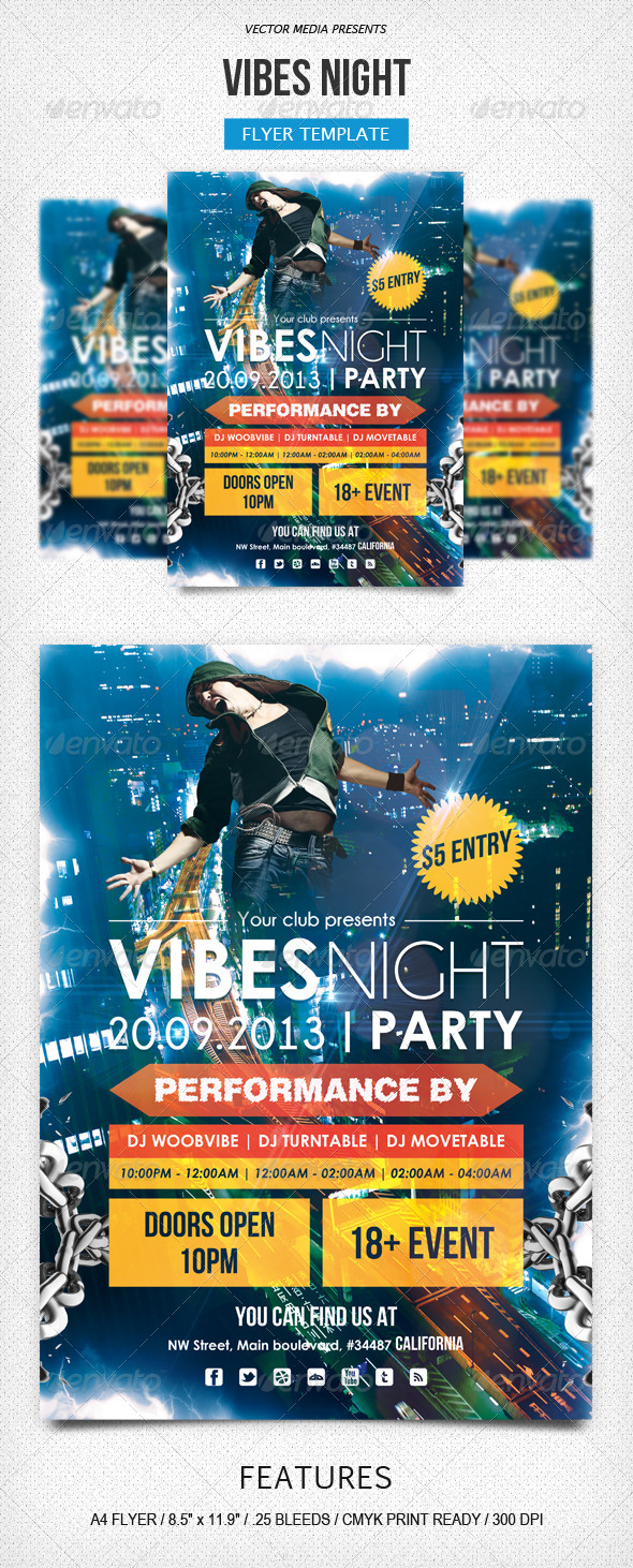 GraphicRiver Vibes Night Flyer 5424412