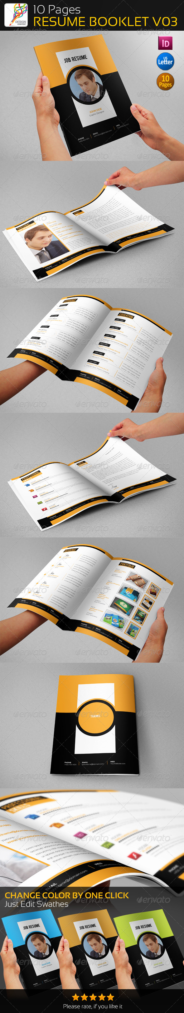 GraphicRiver 10 Pages Professional Resume Booklet V03 5424439