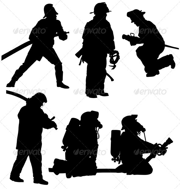 GraphicRiver Firefighter Silhouette 5425049