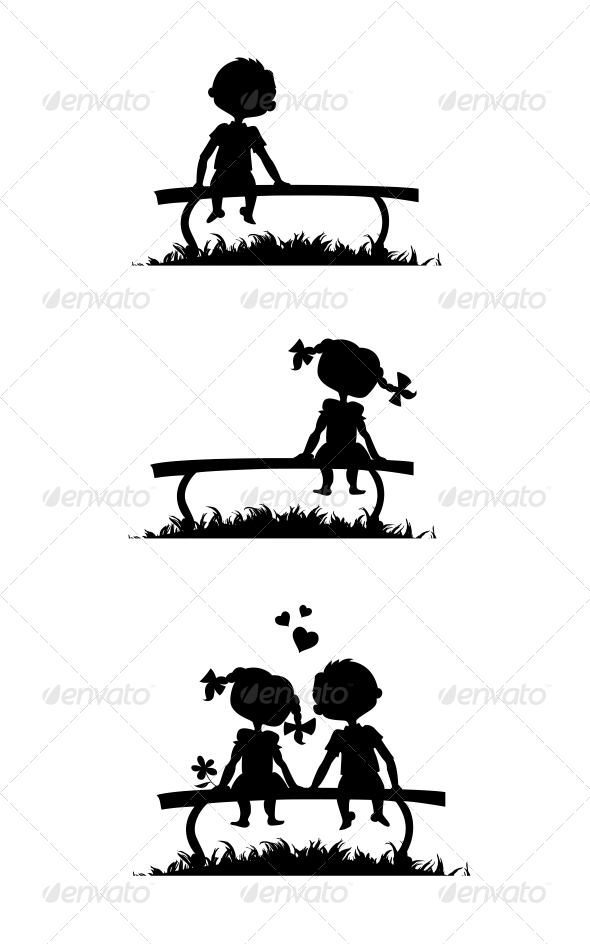 GraphicRiver Silhouettes of Boy and Girl Sitting on a Bench 5425055