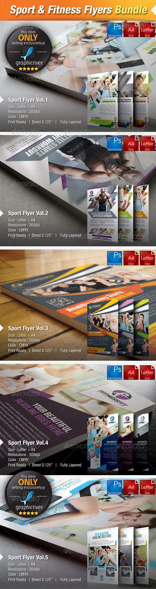 5-in-1 Sport & Fitness Flyers Bundle