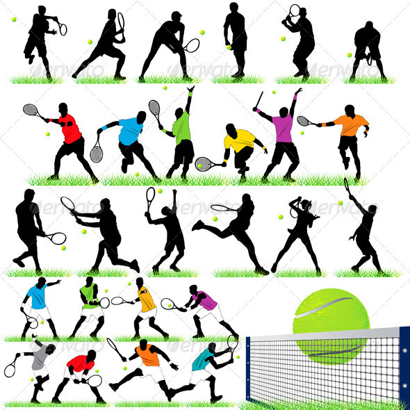 GraphicRiver 27 Tennis Players Silhouettes Set 558213