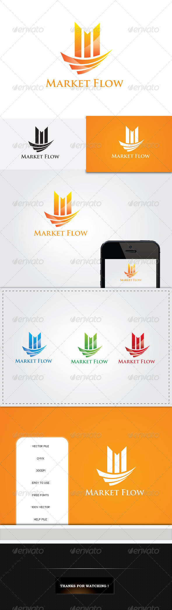 GraphicRiver Market Flow Logo Template 5425155