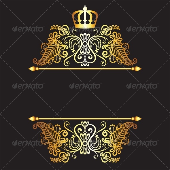 GraphicRiver Royal Pattern with Crown on Dark Background 5425252