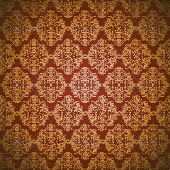 GraphicRiver Gold Seamless Lace Pattern on Red Background 5425261