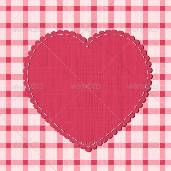 GraphicRiver Checkered Background with Textile Heart Label 5425398