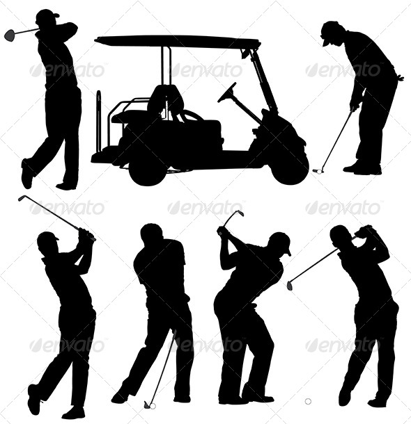 GraphicRiver Golf Player Silhouette 5426089