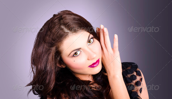 Cosmetic beauty portrait. Perfect makeup woman - Stock Photo - Images