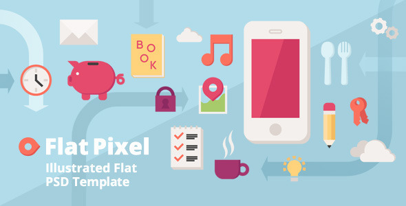 ThemeForest Flat Pixel Illustrated PSD Template 5427194