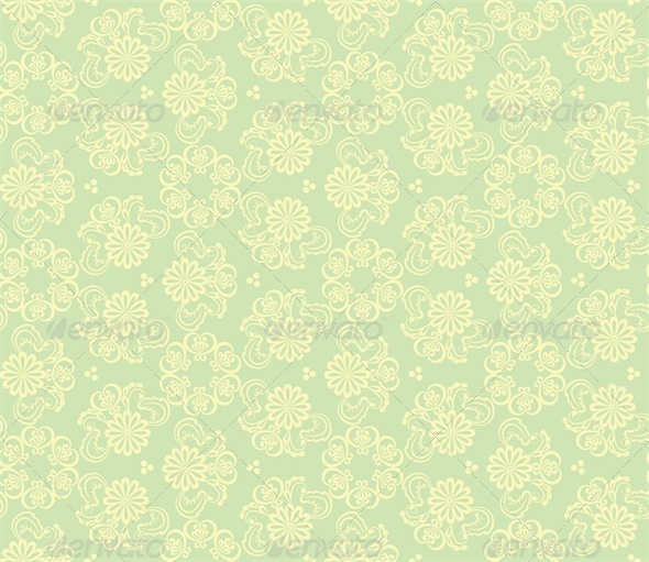 GraphicRiver Seamless Floral Pattern on Green Background 5427237