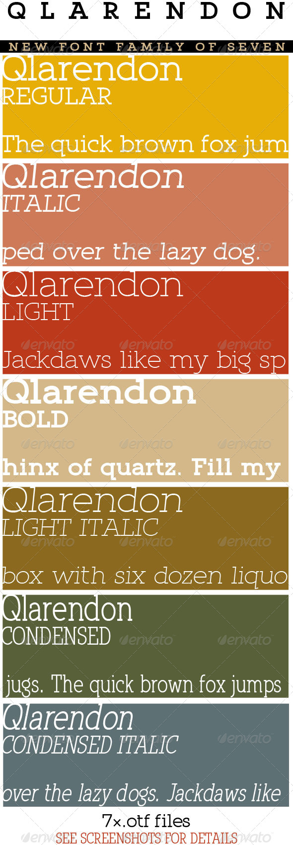 GraphicRiver Qlarendon Font Family; Clean Modern Slab 5428223