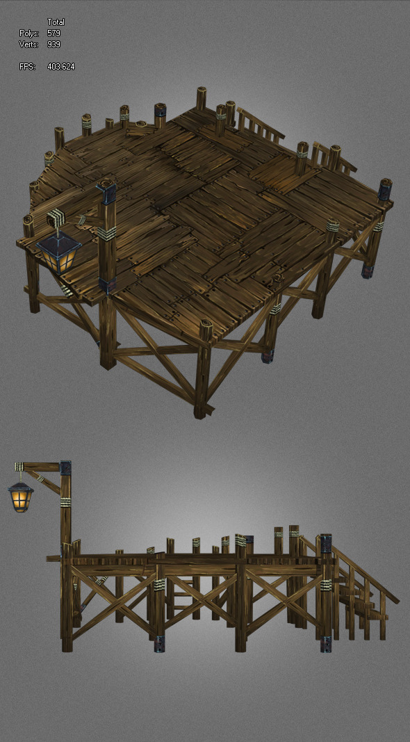 low poly ancient pier - 3DOcean Item for Sale