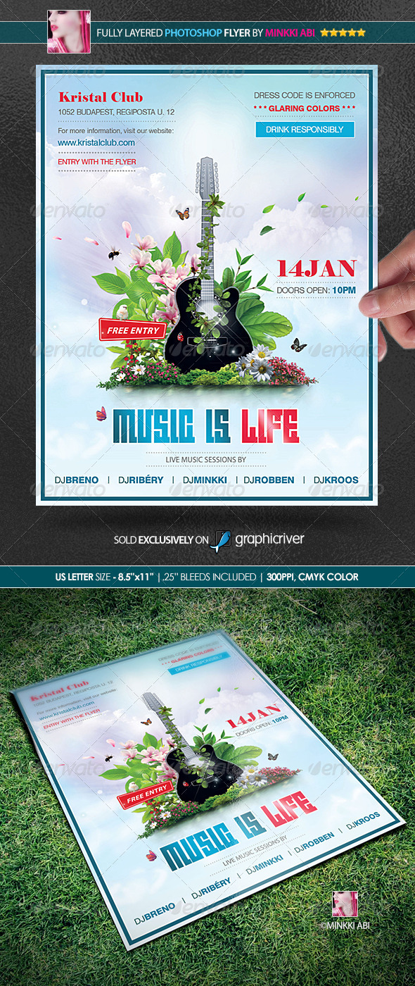 Music Is Life Poster/Flyer - Clubs & Parties Events