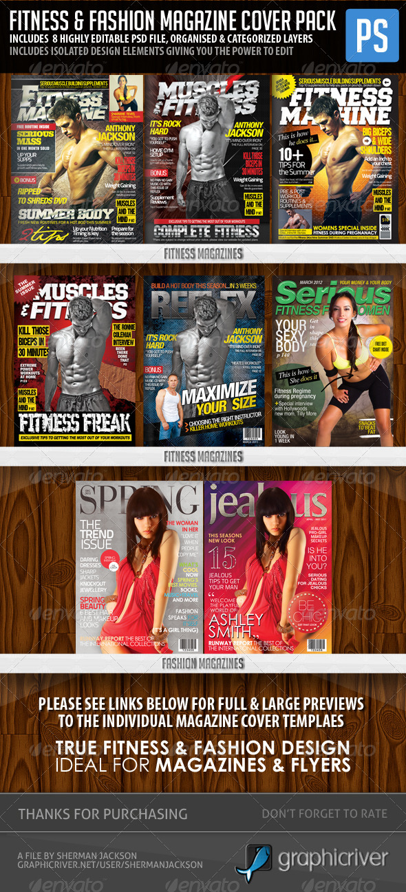 Fitness & Fashion Magazine Cover Templates - Magazines Print Templates