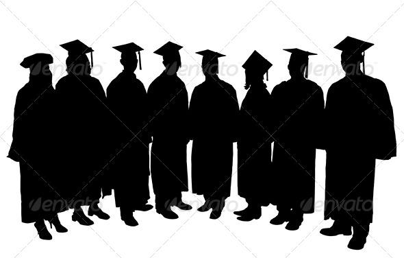 GraphicRiver Graduates Silhouette 5428947