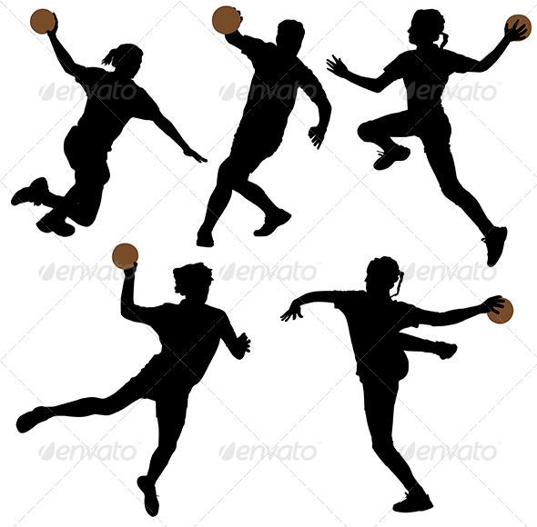 GraphicRiver Handball Silhouette 5429023