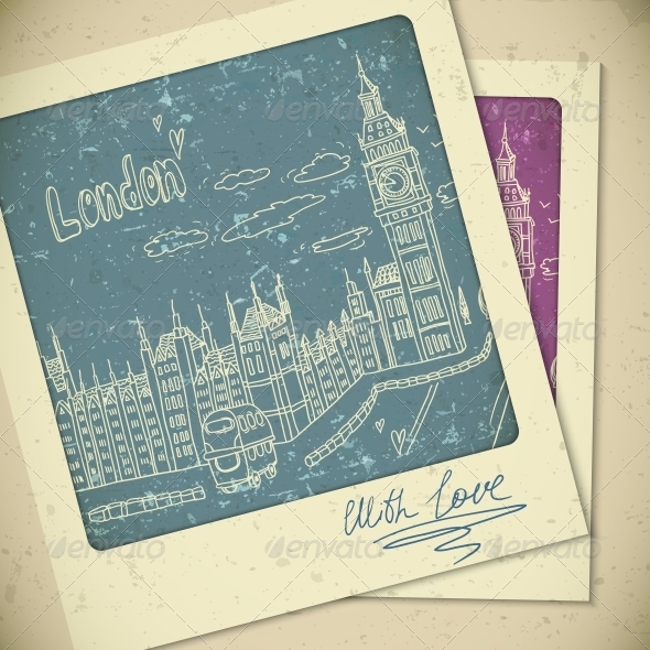 GraphicRiver London Doodle Drawing Landscape in Vintage Style 5429211