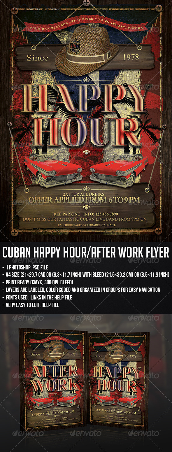 GraphicRiver Cuban Happy Hour After Work Flyer 5202199
