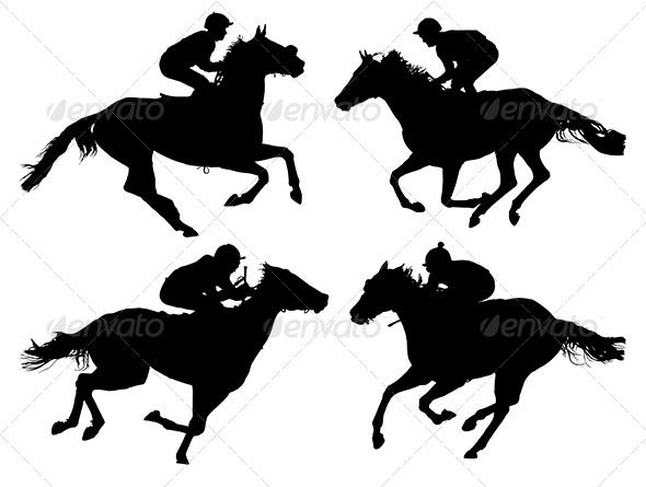 GraphicRiver Horse Racing Silhouette 5429275