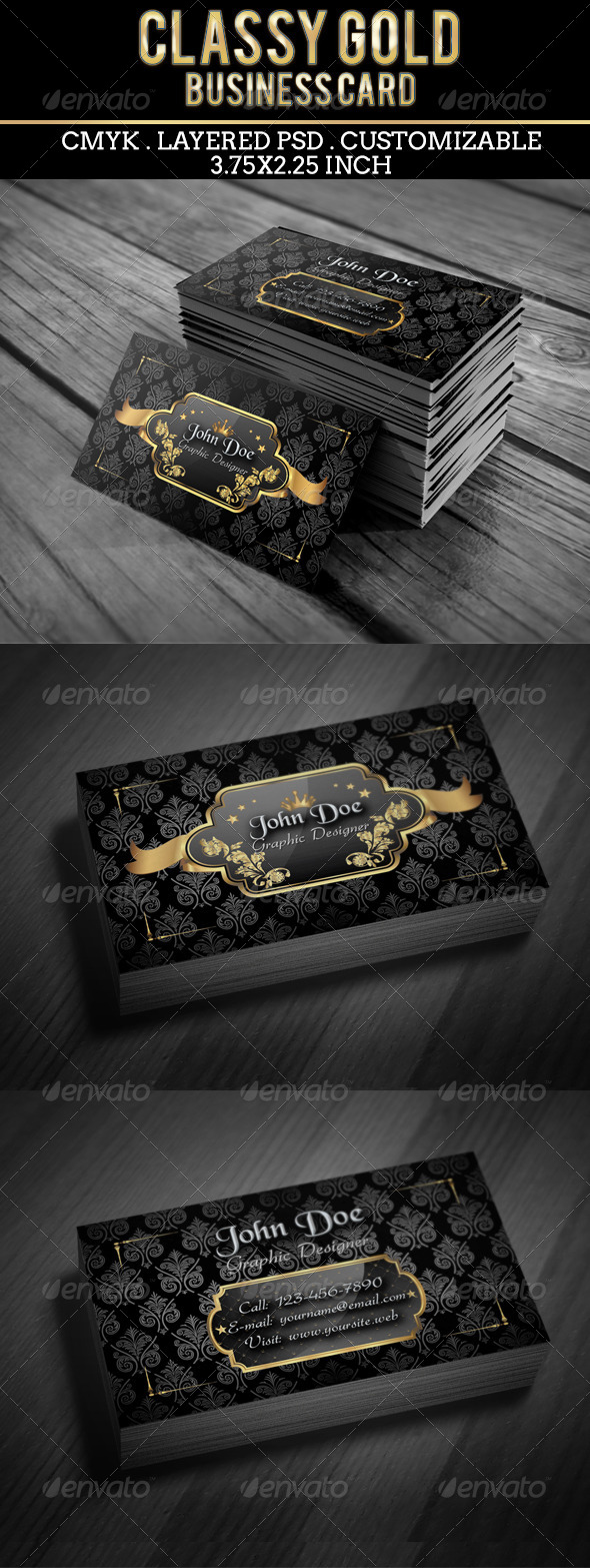 GraphicRiver Classy Gold Business Card 5405184