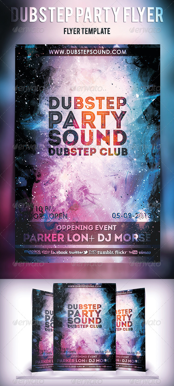 GraphicRiver Dubstep Sound Party Flyer 5429418