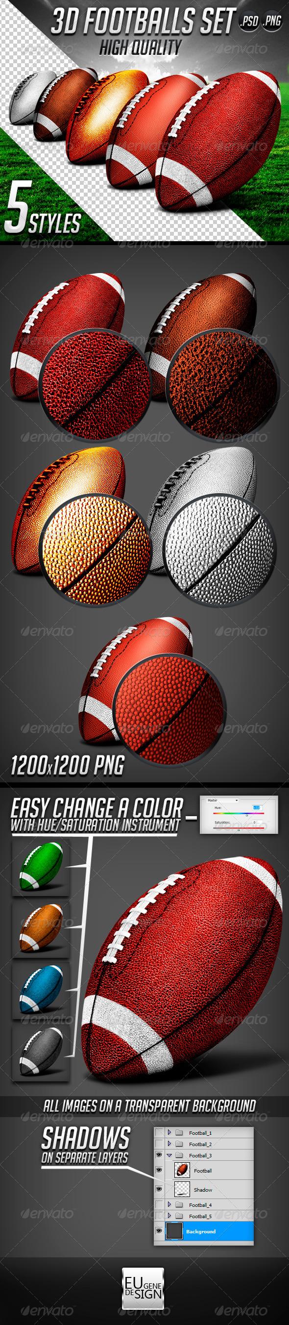 GraphicRiver 3D Footballs Set 5430254