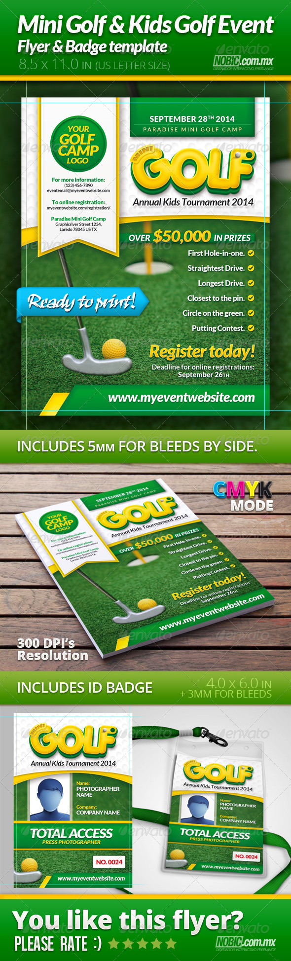 GraphicRiver Mini Golf and Kids Golf Flyer and Badge Template 5430256