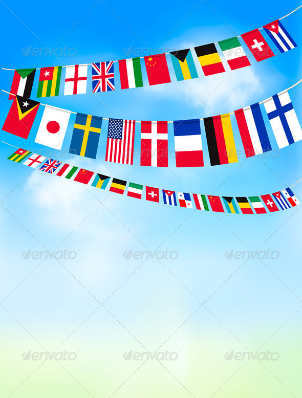 GraphicRiver Background with World Bunting Flags and Blue Sky 5430364