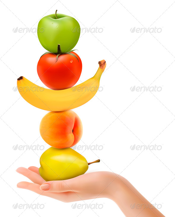 GraphicRiver Group of Fresh Fruit with Hand Dieting Concept 5430381