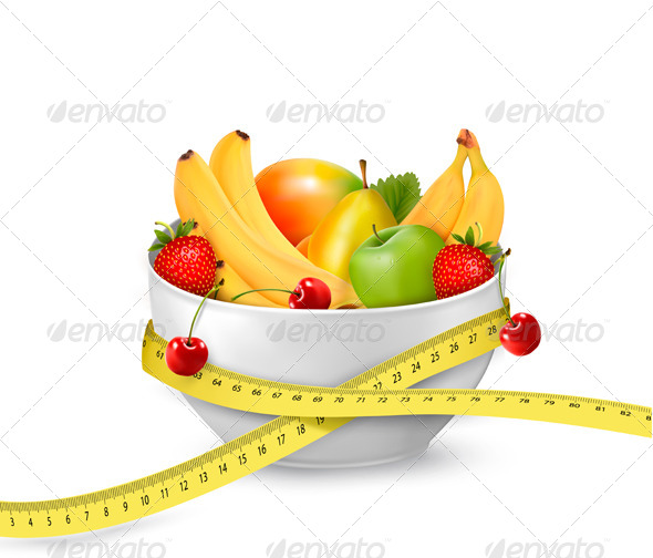 GraphicRiver Diet Meal Fruit in a Bowl with Measuring Tape 5430391