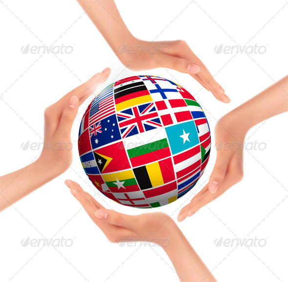 GraphicRiver Flags of the World in Globe and Hands 5430413