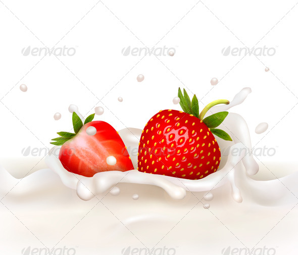 GraphicRiver Red Strawberry Falling into a Milky Splash 5430518