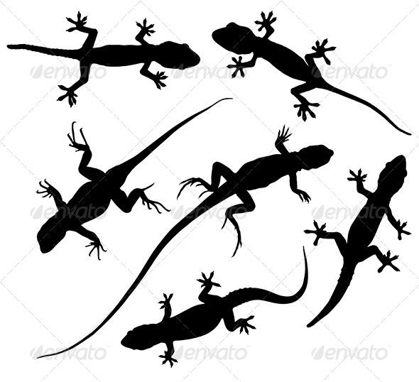 GraphicRiver Lizard Silhouette 5431343