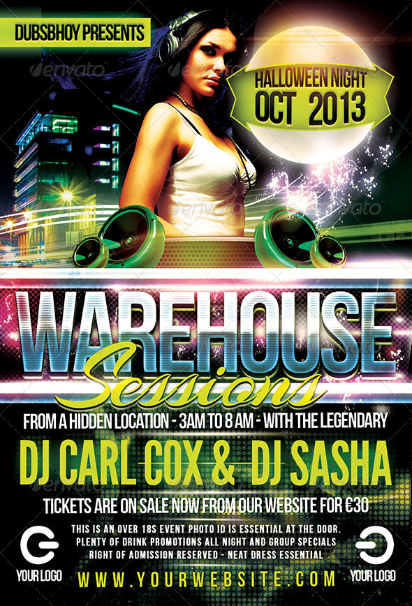 Warehouse Sessions Flyer - Print Templates