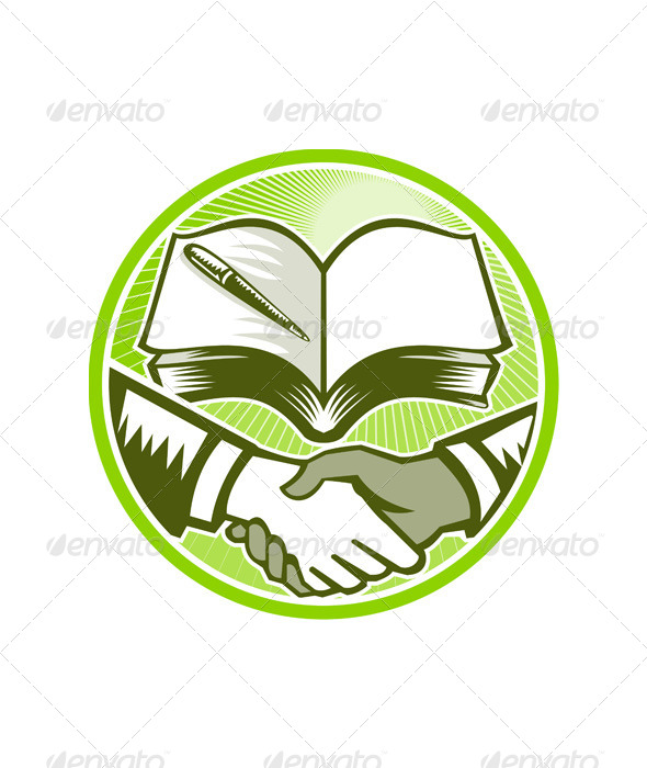 GraphicRiver Handshake Book Pen Woodcut Circle 5433046