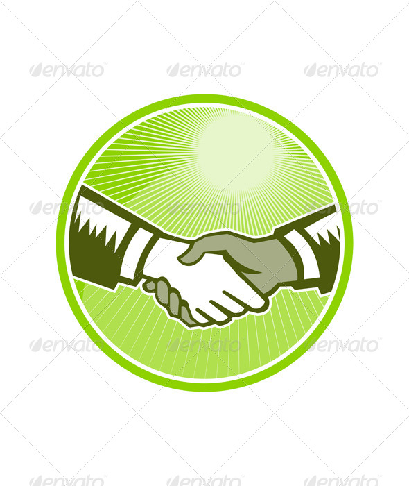 GraphicRiver Handshake Black White Woodcut Circle 5433053