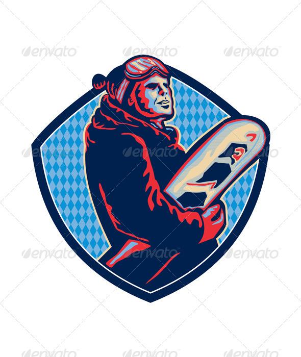 GraphicRiver Snowboarder Holding Snowboard Retro 5433062