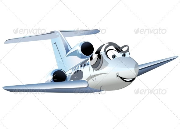 Vector Cartoon Civil Utility Airplane