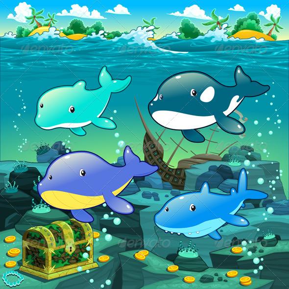 GraphicRiver Seascape with Treasure Galleon and Fish 5433587
