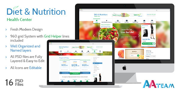 ThemeForest Diet & Nutrition Health Center PSD Template 5433614