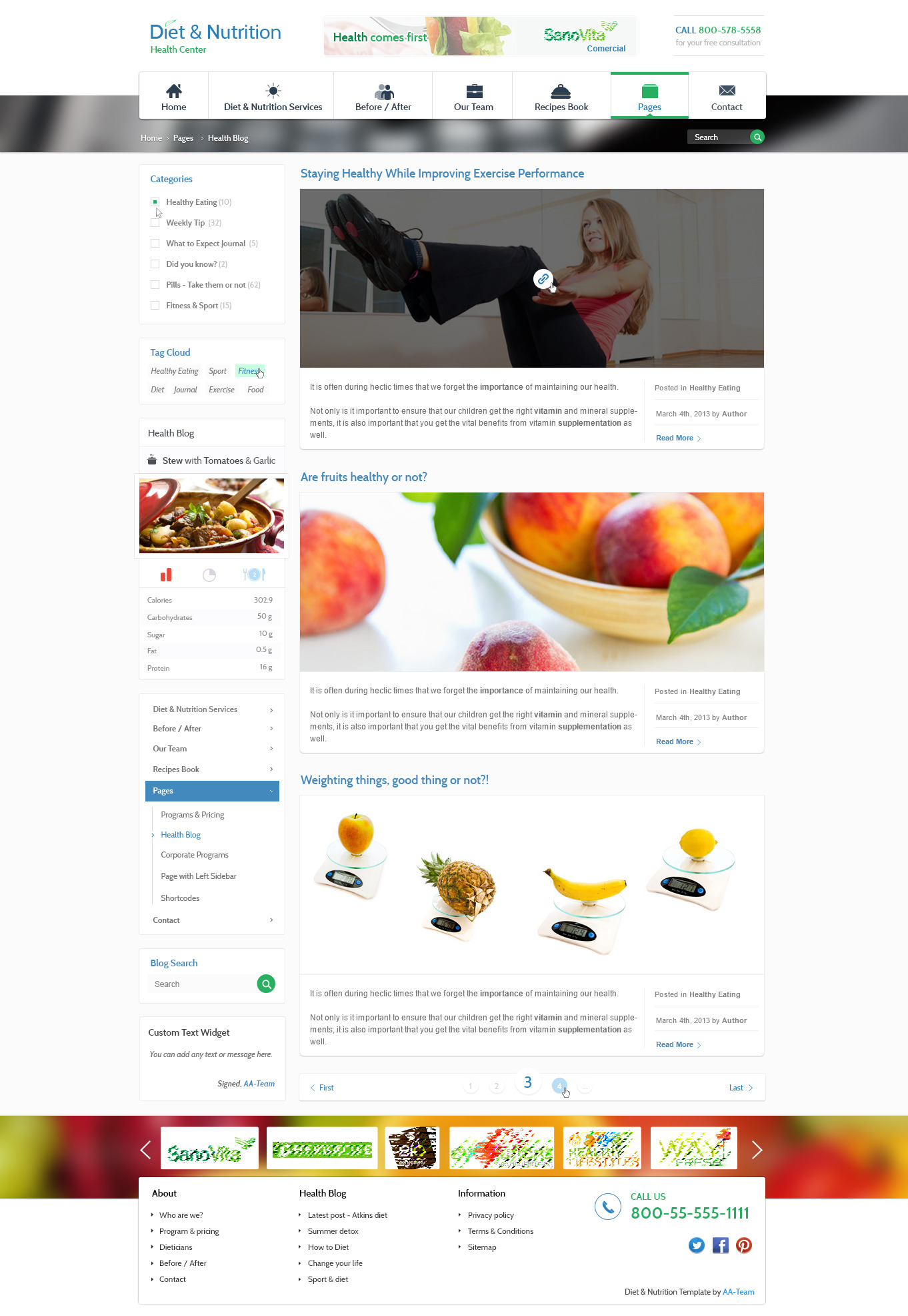 Diet & Nutrition Health Center – PSD Template