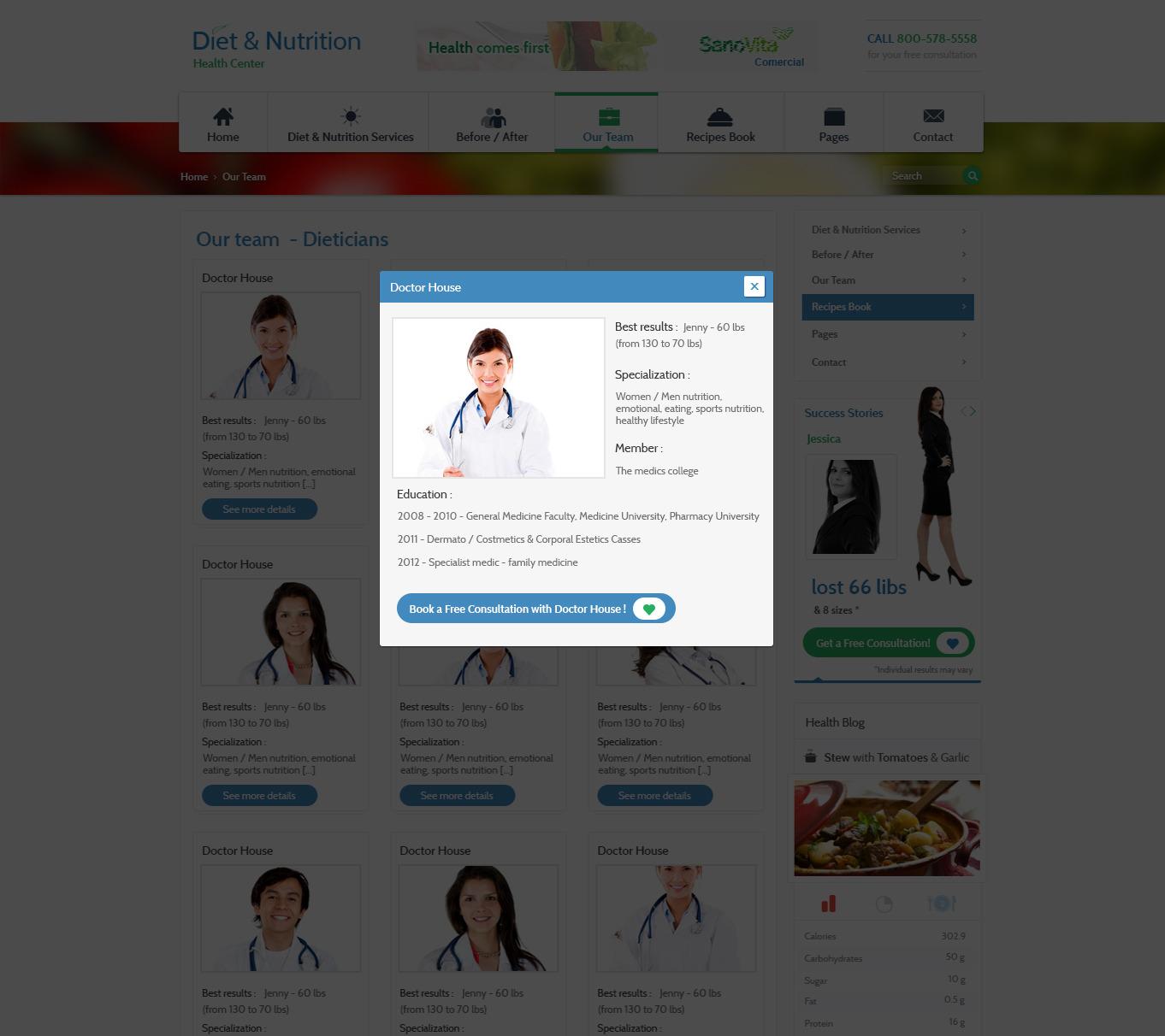 Diet & Nutrition Health Center – PSD Template