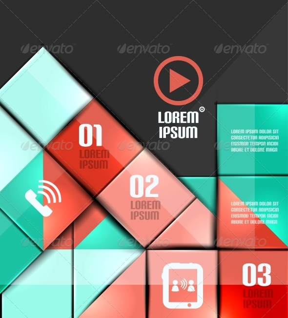 Glossy Colorful Squares Infographics - Concepts Business