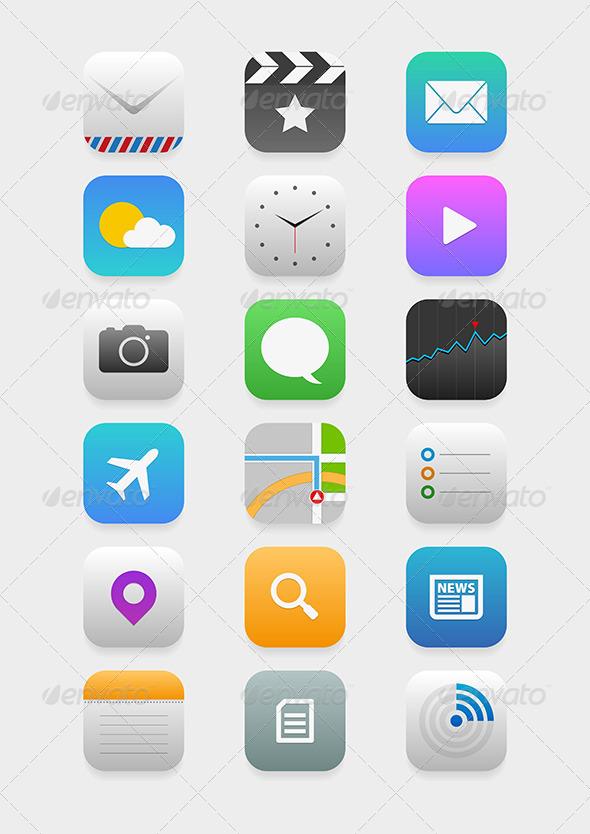 GraphicRiver Mobile Application Icon Set 5433762