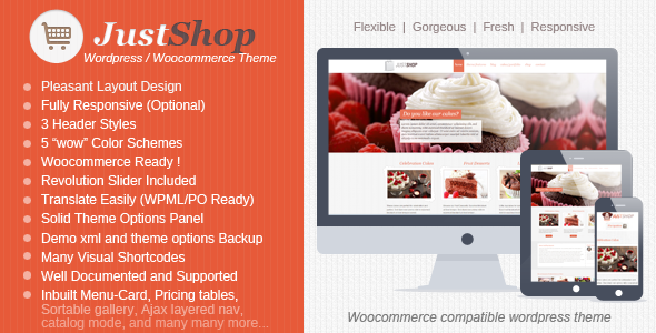 WooCommerce themes: Download Justshop - Cake Bakery Drinks Shop ...