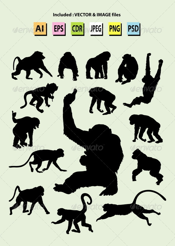 Ape Silhouettes - Animals Characters