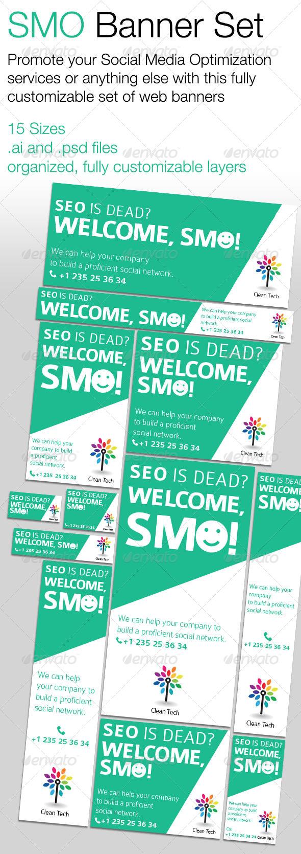 GraphicRiver SMO Social Media Optimization Banner Set 5434081