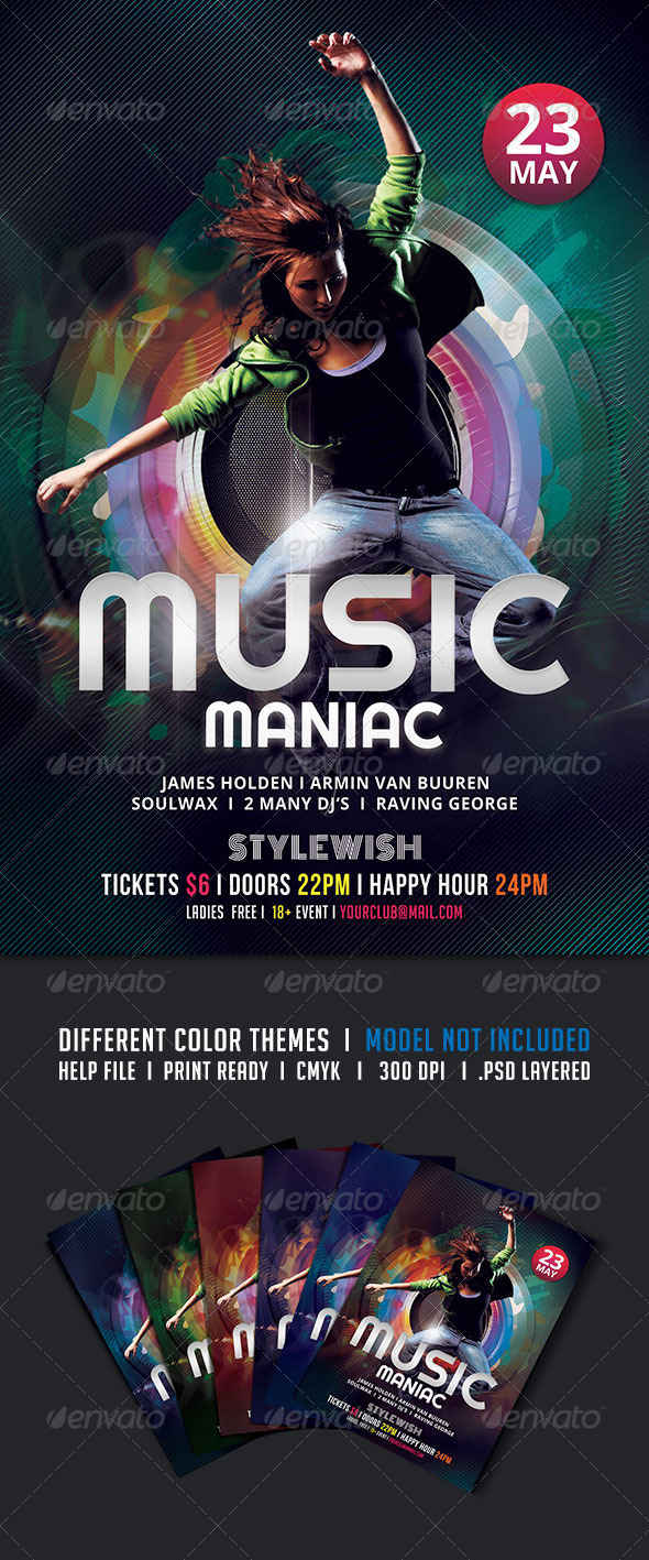 GraphicRiver Music Maniac Flyer 5434440