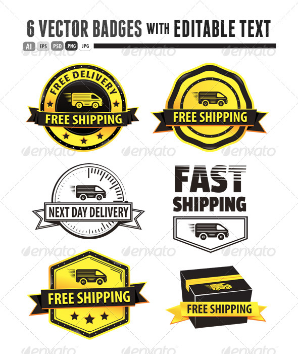 GraphicRiver Yellow Free Shipping Badges 5432185